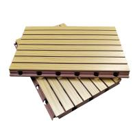 China 3D Grooved Wooden Acoustic Ceiling Tiles / Soundproof Decorative Wall Panels on sale