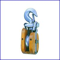 China B038 Wooden Shell Manila Snatch Block With Hook, Single Sheave Block for sale