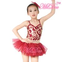 Quality Fancy Kids Dance Costumes Floral Sequin Dress Matching Tulle Tutu Skirt for sale