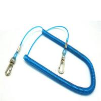 3m lobster clasp hook rod flexible fishing safety line coiled lanyard custom blue color