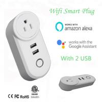 China Wifi Smart Plug, With 2 USB Charger(5V, 2.1A), Work with Amazon Alexa & Google Home, Remote Control by Smart Phone with on sale