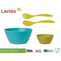 Quality Biodegradable Bamboo Salad Bowl Set Melamine Serving BPA / Heavy Metals Free for sale