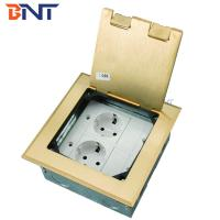 Quality gold double EU power flip up floor socket outlet box for sale