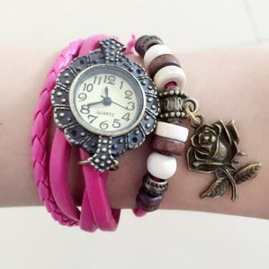 Fashion Round Dial Flower Charm Ladies Bracelet Wrist Watches Relogios