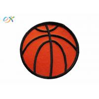 China Twill Background Fabric Embroidered Sports Patches  Orange / Red Color for sale