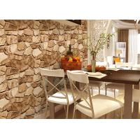 Quality 3D Effect Stone Pattern Washable Vinyl Wallpaper With Foam Process Natural Style for sale