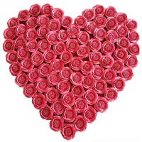 Quality Heart Handmade Flowers From Fabric , Romantic Fabric Wedding Flowers for sale