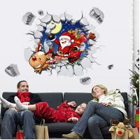 Quality Santa Claus Christmas Wall Stickers Removable 3D View Art PVC Visual Effect Decal for sale