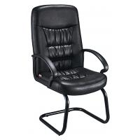 Quality Comfy Non Swivel Desk Chair , Black Leather Meeting Room Chairs With Arms for sale