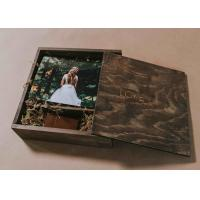 Quality 4 X 6 Wooden Photo Album Box , Custom Wooden Wedding Photo Box With Dividers for sale