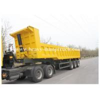Quality Triple Axles 60 to 80 Tons Construction Dump Trailer Hydraulics , Sand dumping trailer with warranty for sale