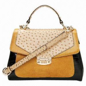 China Glossy crocodile ostrich print contrast color seamed PU handbag/shoulder bag on sale