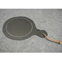 Quality Dark Grey Solid Stone Placemats Slate Paddle Black Rough Edge With Rope for sale
