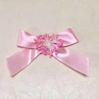 Quality Pink Satin Blossom Fabric Ribbon Bow Eco - Friendly Customized For Gift Packing for sale