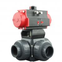 Buy PVC Plastic Actuator Pneumatic Ball Valve 2 Way / 3 Way With L Type T Type at wholesale prices