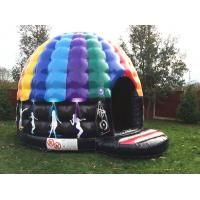 Quality Party theme rainbow colorful inflatable disco dancing music dome bouncy castle for sale