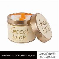 Really Good Smelling Scented Tin Candles With Round And Top Printing Sticker