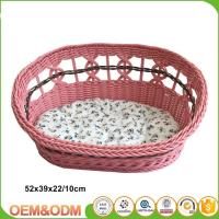 China Wicker pet basket willow dog house wicker cat bed M size with mat on sale