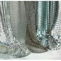 Silver / Golden Wire Mesh Curtain Aluminum Metallic Sequined Fabrics Multi Shape