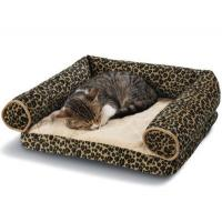 Quality Leopard Print Memory Foam Bolster Dog Bed Suede Fabric Cover Non - Slip Bottom for sale