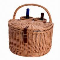 China Wicker Wine Basket for 2 Persons, Sized 15 x 16 x 15 Inches on sale
