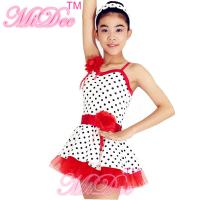 Lycra Kids Dance Clothes Red White Polka Dot Dance Dress With Flowers Trim