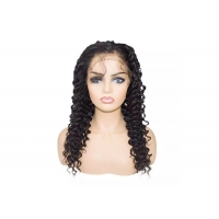 Quality Remy hair #1B Natural black undectable deep wave 13x4 lace wig for sale