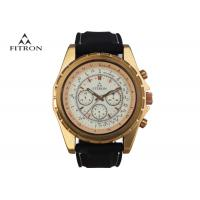 Multifunction Mens Leather Strap Watches , Quartz Black And Gold Watch Customizable
