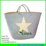 Quality LUDA imitated palm leaf beach straw bags wholesale Seagrass Straw handbag for sale