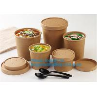 Quality Eco Friendly Disposable takeaway food container Kraft Paper noodle bowls Hot Soup Cup With Paper Flat Lid bagease packag for sale