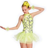 Quality Neon Yellow Fully Sequins Halter Neck Jazz Tap Dance Dress Competition Costumes Sparkly Performance Wear for sale