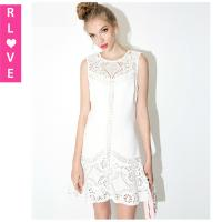 Quality Europe crocheted white hollow embroidery stitching lace dress Slim sleeveless vest dresses for sale