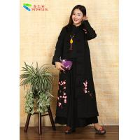 Quality Black Cotton Embroidery Fabric Floral Print Coats for sale