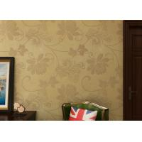 Beige Floral Contemporary Wall Coverings for TV Background , Modern Office Wallpaper