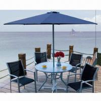 China Aluminum frame dining table set, with tempered glass and sling fabric on sale