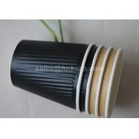 Buy cheap Takeaway Ripple Paper Cups 4oz 150ml Black Disposable Coffee Cups from Wholesalers