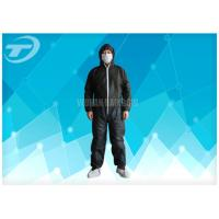 Quality Black Disposable Coveralls Suit Waterproof With Knitted Cuff for sale