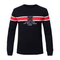 China Color Combination Autumn Crew Neck Stripe Sweater Cotton Knitting Black Clothes Sweater on sale