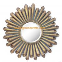 Quality Gold Leaf Finish Metal Roll Decorated Living Room Wall Mirror For Home Decoration for sale