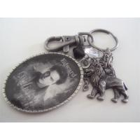 Quality Metal antique pewter plated lion fob keychain, vintage pewter plating key tag key chains, for sale