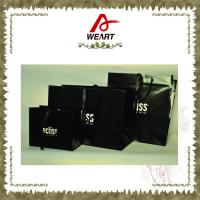 Buy cheap Fashion Black Custom Paper Shopping Bags With Cotton / Ribbon Handle from Wholesalers
