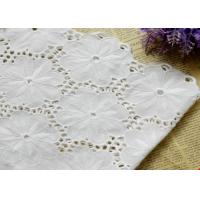China Swiss Voile 100% Cotton Lace Fabric , Embroidery Guipure Lace Fabric For Lady Dress on sale