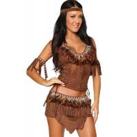 Indian Cowgirl Halloween Adult Costumes  Brown Color  Light Feather Materials
