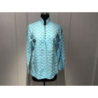 Silk Printed Loose Ladies Tops Blouses Long Sleeve Stand Collar with Special Buttons