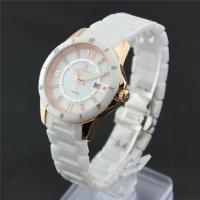 China Stainless steel Ladies Ceramic Watches with diamond for couple on sale