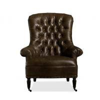 Top Leather Tufted Back Occasional Brown Living Room Chair For Sitting Make