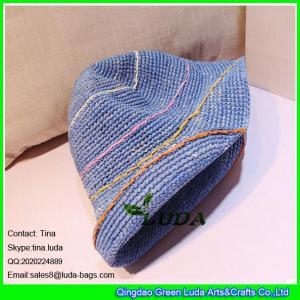 China LDMZ-007 navy blue ladies bucket hats foldable raffia straw visor cap on sale