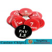 Quality Red / Black  Anti - Fade Casino Game Accessories 40 Mm Plastic Insurance Code Set for sale