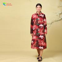 Quality Red Cotton Winter Coats , Cotton Padded Floral Print Coats Chinese Style for sale