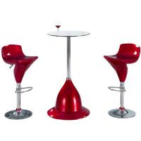 Tempered Small Modern Glass Bar Table Round With Chrome Legs And Stools